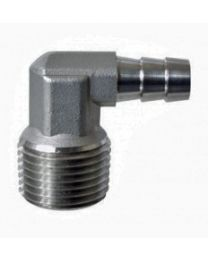 "Fermentap Stainless Steel 1/2"" mpt X 3/8"" Barb Elbow"
