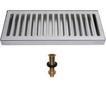 "5"" Wide Stainless Steel Drip Tray  with Drain - Select Size"