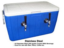 Bev Rite  50' All SS304 Contact-Double Faucet Jockey Box, 48 Quart Cooler (2 Lines)