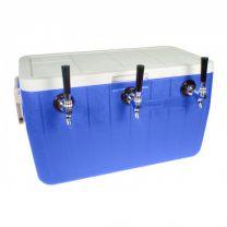 Bev Rite 50' SS Coil Triple Faucet Jockey Box, 48 Quart Cooler (3 Lines)